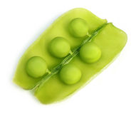 Green peas on bean Stock Photography