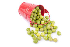Green peas in a bucket Stock Photo