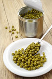 Green peas canned Stock Photo