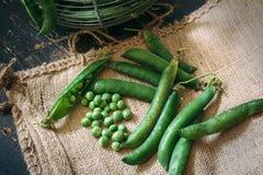 Green peas close up. Viewon sack Royalty Free Stock Images