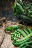 Green peas close up. Viewon sack Stock Image