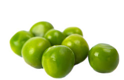 Green peas close-up. On white background Royalty Free Stock Images