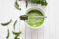 Green peas cream soup Royalty Free Stock Images