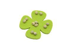 Green Peas and felt decoration Stock Photo