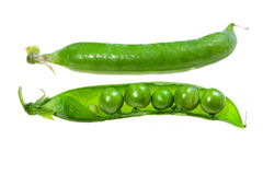Green peas. Food  ingredients - green peas isolated over white background Royalty Free Stock Image