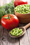 green peas and fresh vegetables Royalty Free Stock Image