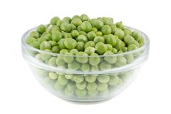 Green peas in a glass bowl. Royalty Free Stock Photography