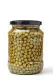 Green peas in glass jar Stock Photography