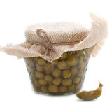 Green peas in glass jar Royalty Free Stock Image
