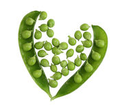 Green peas heart Stock Images