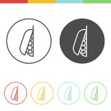 Green peas  icons. Vector set of green peas icons in thin line style Royalty Free Stock Photo