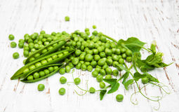 Green peas with leaf and flower Stock Photo