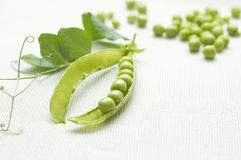 Green Peas On Linen Background Royalty Free Stock Images
