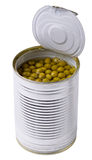 Green peas in the opened steel can are isolated Stock Photography