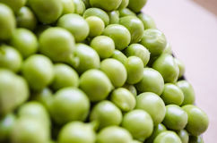 Green peas. The pea is most commonly the small spherical seed, Each pod contains several peas Stock Photos
