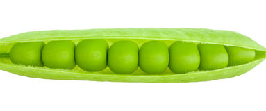 Green peas pod. The opened pod of green peas on a white background royalty free stock images