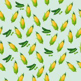 Green peas pod. Very high quality original trendy vector seamless pattern with green peas pods and corn Royalty Free Stock Photography