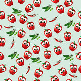 Green peas pod. Very high quality original trendy vector seamless pattern with green peas pods and red pepper Stock Photo
