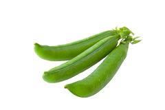 Green peas pods. On a white background royalty free stock photography