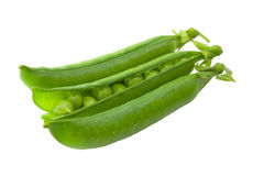 Green peas pods. On a white background stock images