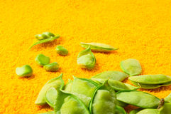 Green peas with pods. Fresh green peas with pods on a textile background Royalty Free Stock Image