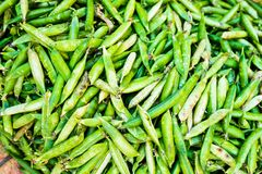 Green peas in pods on the street asian market in Kathmandu, Nepal. Vegetarian food. Mixed fresh raw vegetables, top view. Closeup. Food poster Stock Photos