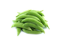 Green Peas in Pods  on White Background Royalty Free Stock Images