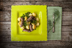 Green Peas Potatoes Sausages Stock Images