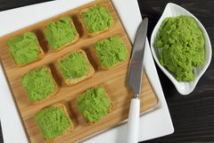 Green peas puree Royalty Free Stock Photography