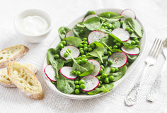 Green peas, radish and baby spinach salad on ceramic plate on a light background. Stock Images