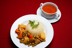 Green peas and rice Stock Images