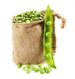 Green peas in sack and pod Royalty Free Stock Photos