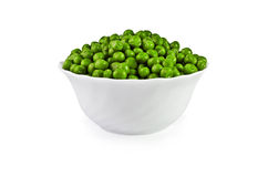 Green peas in a salad bowl isolated over white Stock Photography