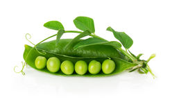 Green peas in shell on the white background Stock Image