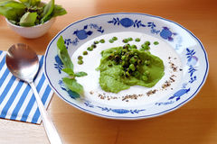Green peas soup - cold served meal Stock Image