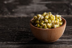 Green Peas Sprouts in a Wooden bowl Royalty Free Stock Images