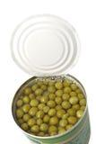 Green peas in tin Stock Image