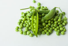 Green peas. Top view of green peas and pods [pisum sativum Royalty Free Stock Photo