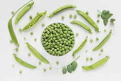 Green peas in white bowl Royalty Free Stock Image