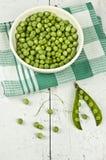Green Peas On White Ceramic Bowl Stock Image