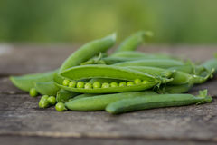 Green peas on wooden background Royalty Free Stock Photo