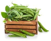 Green peas in wooden box Stock Photos