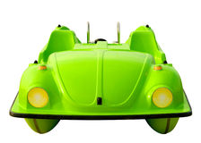 Green pedalo car isolated. With clipping path stock image