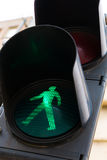 Green pedestrian crossing light Royalty Free Stock Photography