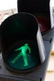 Green pedestrian crossing light. Green light at pedestrian crossing lights, closeup Royalty Free Stock Photography