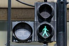 GREEN pedestrian traffic lights Stock Photos