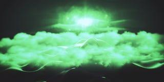 Green peeking mountain. Abstract green polygonal mountain peeking through clouds. Creative background. 3D Rendering Stock Images