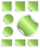 Green Peeling Stickers with White Border Stock Photo