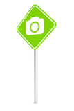 Green pemissive traffic sign with camera icon Royalty Free Stock Photo