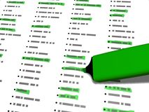 Green pen marker used to highlight selected list elements Stock Photo